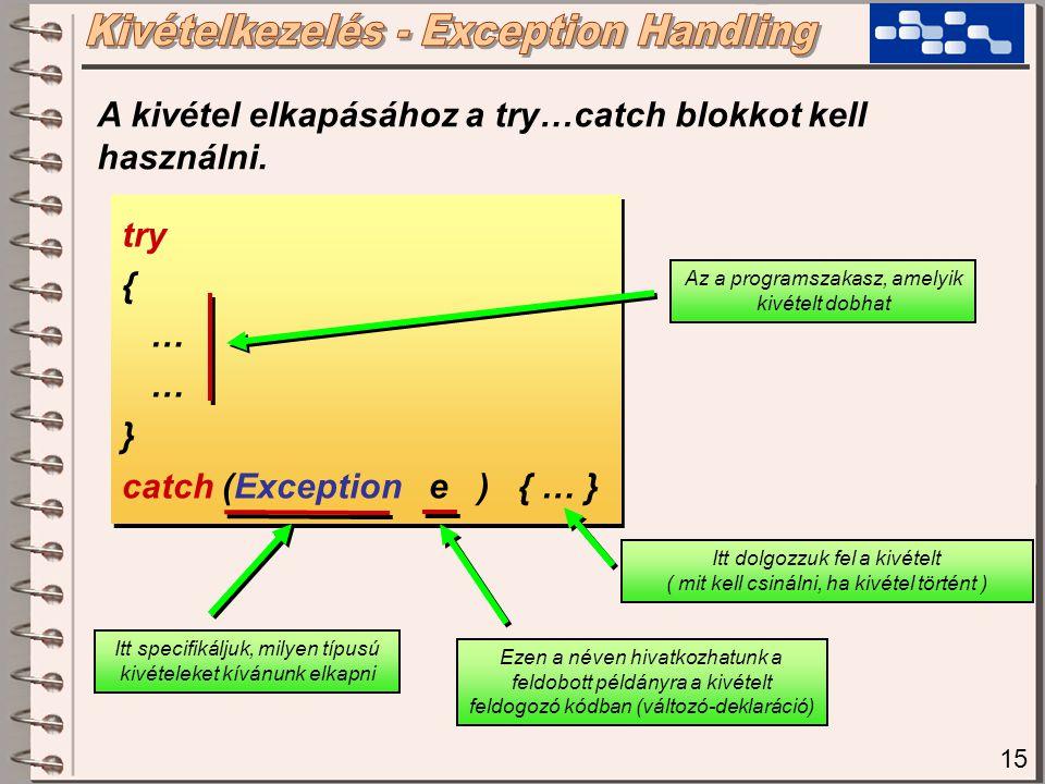15 try { … } catch (Exception e ) { … } try { … } catch (Exception e ) { … } Az a programszakasz, amelyik kivételt dobhat Itt specifikáljuk, milyen típusú kivételeket kívánunk elkapni Itt dolgozzuk fel a kivételt ( mit kell csinálni, ha kivétel történt ) A kivétel elkapásához a try…catch blokkot kell használni.