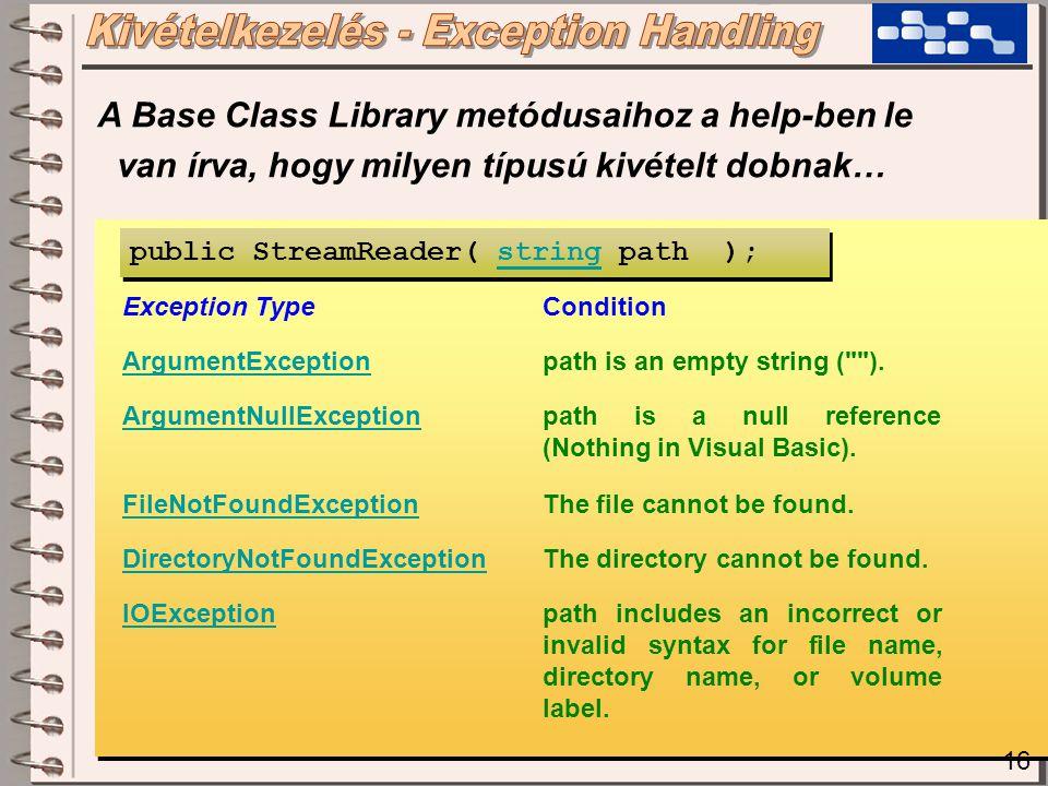 16 A Base Class Library metódusaihoz a help-ben le van írva, hogy milyen típusú kivételt dobnak… Exception TypeCondition ArgumentExceptionpath is an empty string ( ).