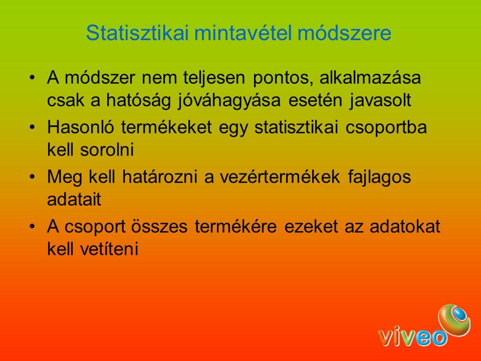 Statisztikai mintavétel módszere A módszer nem teljesen pontos, alkalmazása csak a hatóság jóváhagyása esetén javasolt Hasonló termékeket egy statiszt