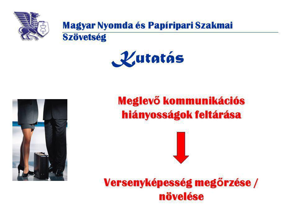 Magyar Nyomda és Papíripari Szakmai Szövetség Kutatás Meglev ő kommunikációs hiányosságok feltárása Versenyképesség meg ő rzése / növelése
