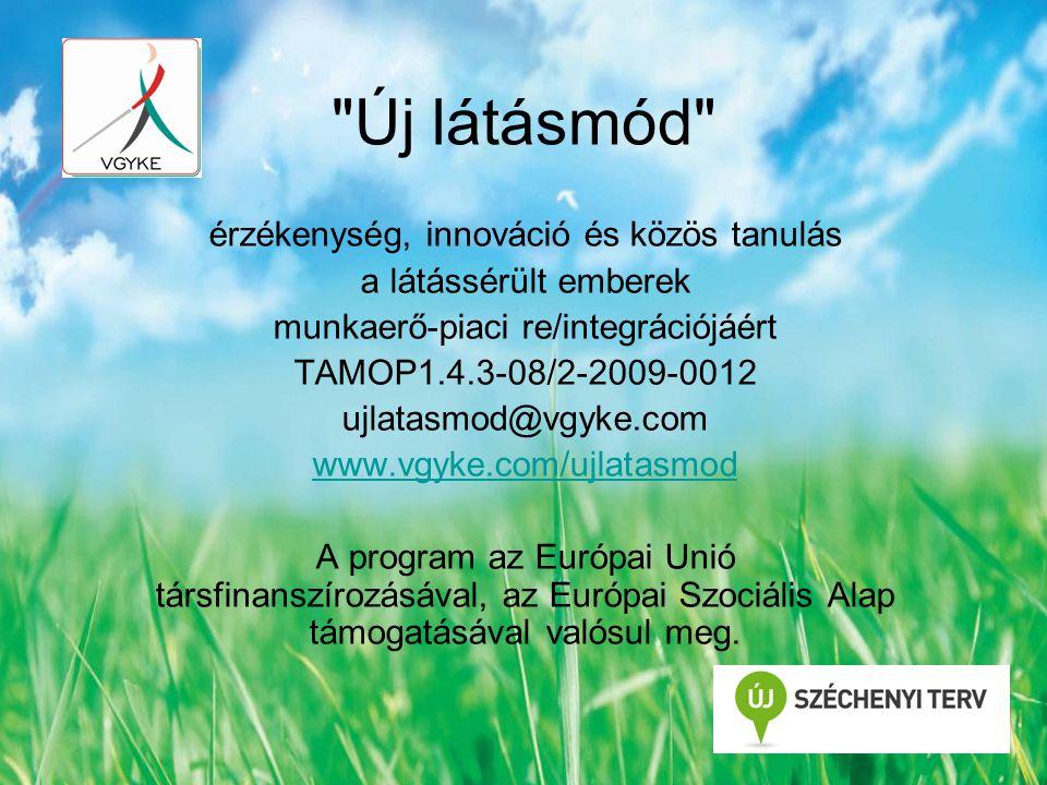Új látásmód érzékenység, innováció és közös tanulás a látássérült emberek munkaerő-piaci re/integrációjáért TAMOP1.4.3-08/2-2009-0012 ujlatasmod@vgyke.com www.vgyke.com/ujlatasmod A program az Európai Unió társfinanszírozásával, az Európai Szociális Alap támogatásával valósul meg.