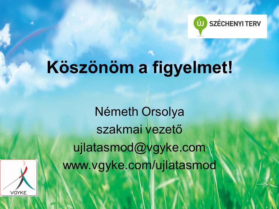 Köszönöm a figyelmet! Németh Orsolya szakmai vezető ujlatasmod@vgyke.com www.vgyke.com/ujlatasmod