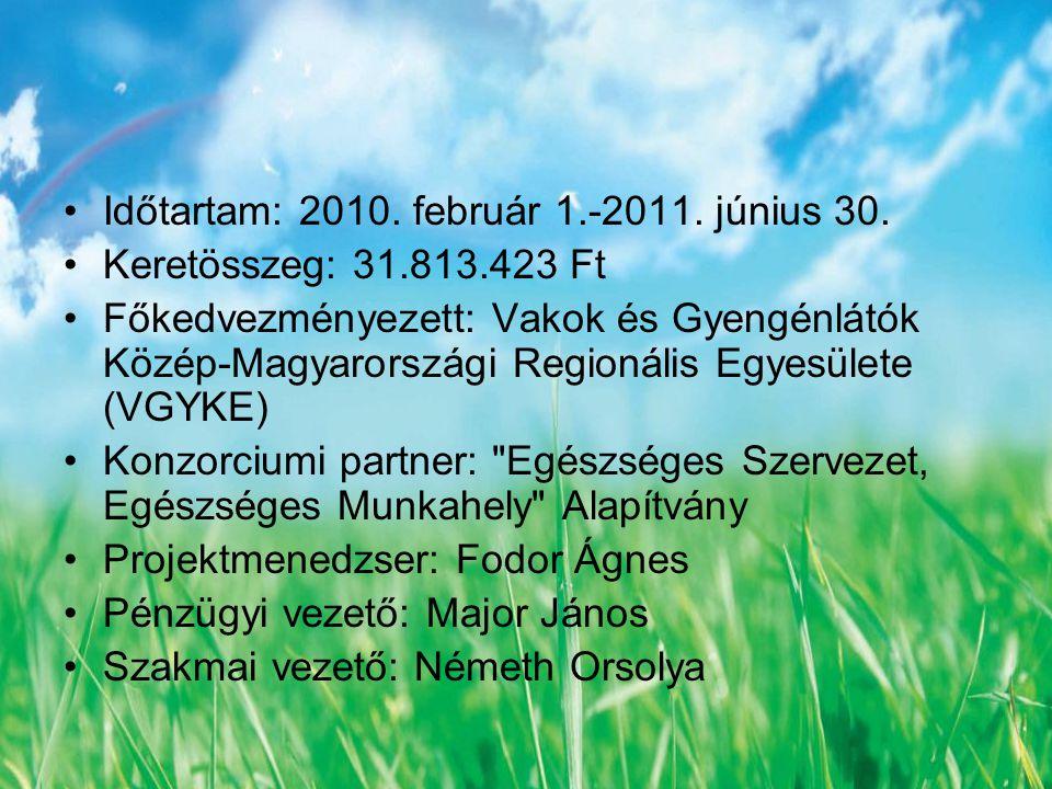 Új látásmód projekt: Időtartam: 2010.február 1.-2011.