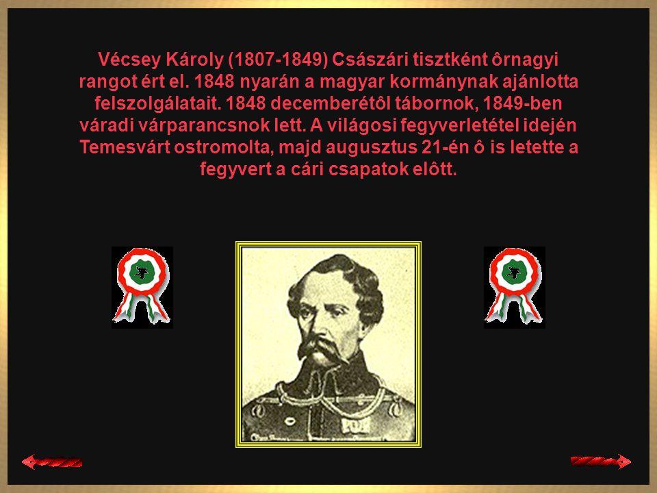 Török Ignác (1795-1849) Az 1848-49-es évi szabadságharc alatt Komárom erôdítési munkáit irányította, s 1849 márciusáig ô volt a vár parancsnoka. Júniu