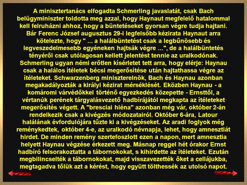 A minisztertanács elfogadta Schmerling javaslatát, csak Bach belügyminiszter toldotta meg azzal, hogy Haynaut megfelelő hatalommal kell felruházni ahhoz, hogy a büntetéseket gyorsan végre tudja hajtani.