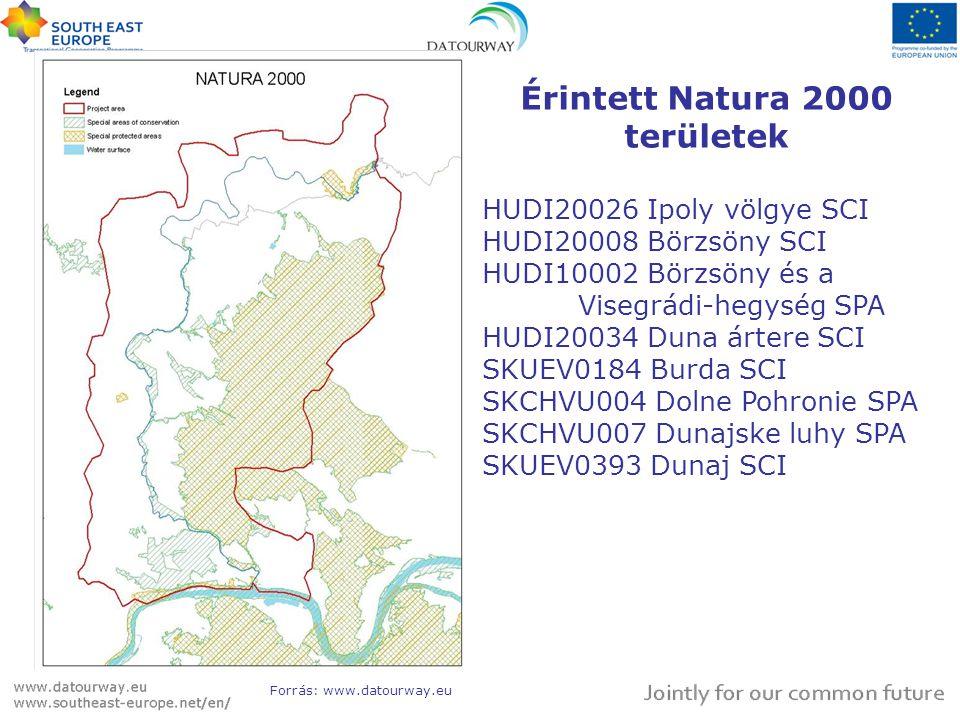 Érintett Natura 2000 területek HUDI20026 Ipoly völgye SCI HUDI20008 Börzsöny SCI HUDI10002 Börzsöny és a Visegrádi-hegység SPA HUDI20034 Duna ártere SCI SKUEV0184 Burda SCI SKCHVU004 Dolne Pohronie SPA SKCHVU007 Dunajske luhy SPA SKUEV0393 Dunaj SCI Forrás: www.datourway.eu