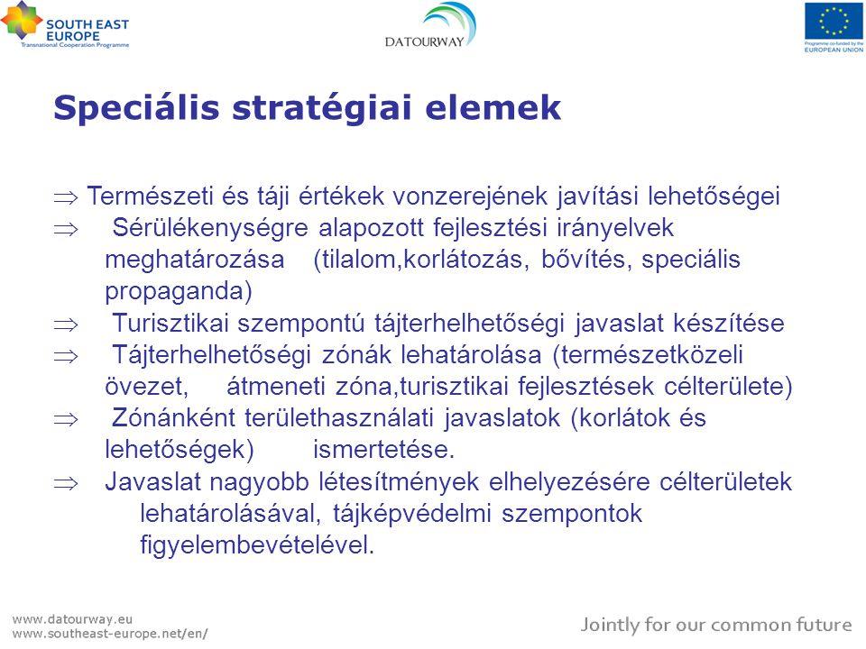 Speciális stratégiai elemek  Természeti és táji értékek vonzerejének javítási lehetőségei  Sérülékenységre alapozott fejlesztési irányelvek meghatározása (tilalom,korlátozás, bővítés, speciális propaganda)  Turisztikai szempontú tájterhelhetőségi javaslat készítése  Tájterhelhetőségi zónák lehatárolása (természetközeli övezet, átmeneti zóna,turisztikai fejlesztések célterülete)  Zónánként területhasználati javaslatok (korlátok és lehetőségek) ismertetése.