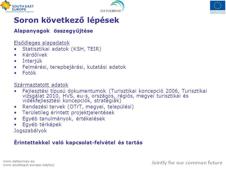 Soron következő lépések Alapanyagok összegyűjtése Elsődleges alapadatok Statisztikai adatok (KSH, TEIR) Kérdőívek Interjúk Felmérési, terepbejárási, kutatási adatok Fotók Származtatott adatok Fejlesztési típusú dokumentumok (Turisztikai koncepció 2006, Turisztikai vizsgálat 2010, HVS, eu-s, országos, régiós, megyei turisztikai és vidékfejlesztési koncepciók, stratégiák) Rendezési tervek (OTrT, megyei, települési) Területileg érintett projektjelentések Egyéb tanulmányok, értékelések Egyéb térképek Jogszabályok Érintettekkel való kapcsolat-felvétel és tartás