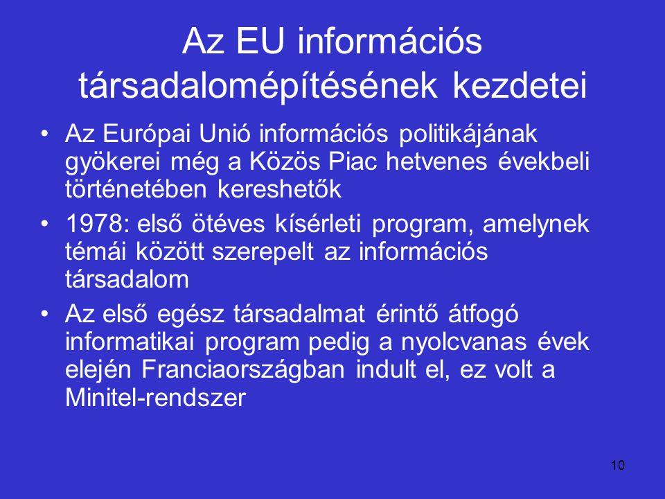 10 Az EU információs társadalomépítésének kezdetei Az Európai Unió információs politikájának gyökerei még a Közös Piac hetvenes évekbeli történetében