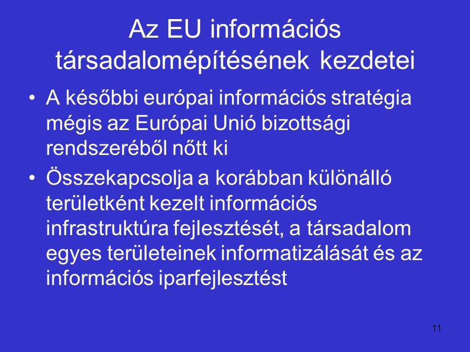 11 Az EU információs társadalomépítésének kezdetei A későbbi európai információs stratégia mégis az Európai Unió bizottsági rendszeréből nőtt ki Össze