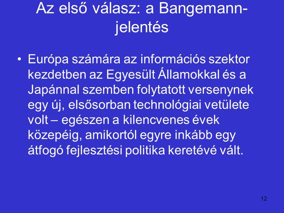 12 Az első válasz: a Bangemann- jelentés Európa számára az információs szektor kezdetben az Egyesült Államokkal és a Japánnal szemben folytatott verse