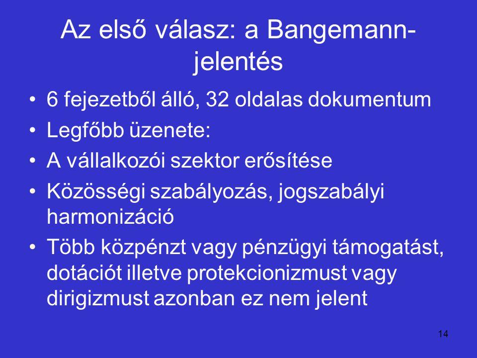 14 Az első válasz: a Bangemann- jelentés 6 fejezetből álló, 32 oldalas dokumentum Legfőbb üzenete: A vállalkozói szektor erősítése Közösségi szabályoz