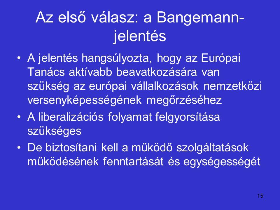 15 Az első válasz: a Bangemann- jelentés A jelentés hangsúlyozta, hogy az Európai Tanács aktívabb beavatkozására van szükség az európai vállalkozások