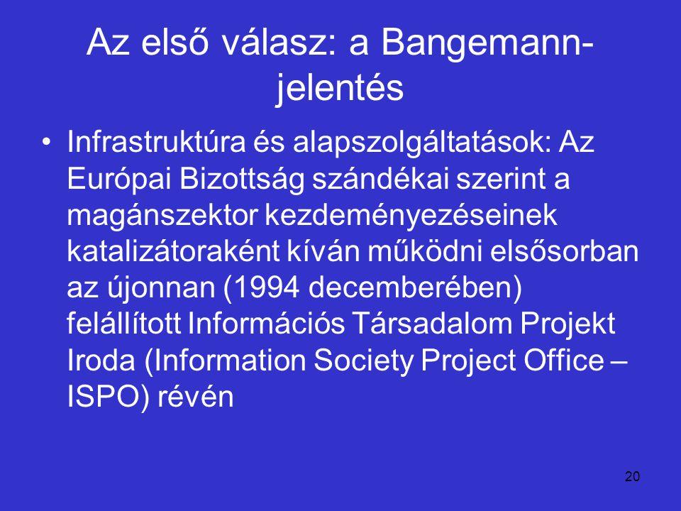 20 Az első válasz: a Bangemann- jelentés Infrastruktúra és alapszolgáltatások: Az Európai Bizottság szándékai szerint a magánszektor kezdeményezéseine