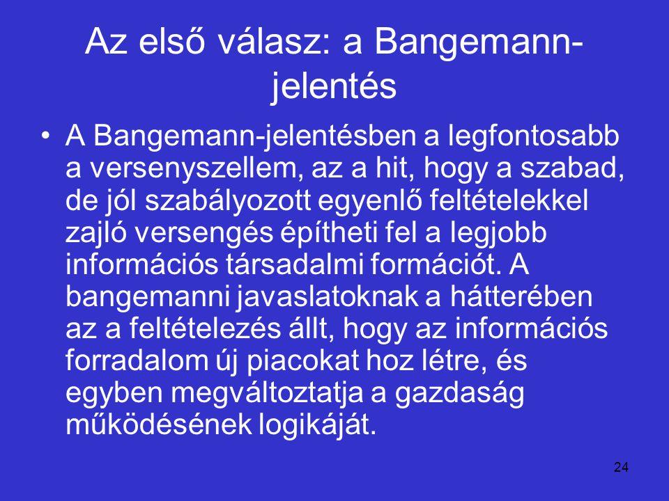 24 Az első válasz: a Bangemann- jelentés A Bangemann-jelentésben a legfontosabb a versenyszellem, az a hit, hogy a szabad, de jól szabályozott egyenlő