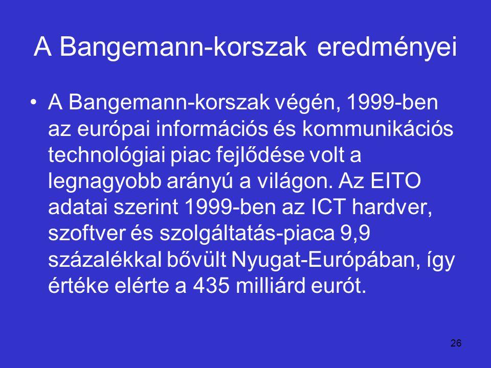 26 A Bangemann-korszak eredményei A Bangemann-korszak végén, 1999-ben az európai információs és kommunikációs technológiai piac fejlődése volt a legna