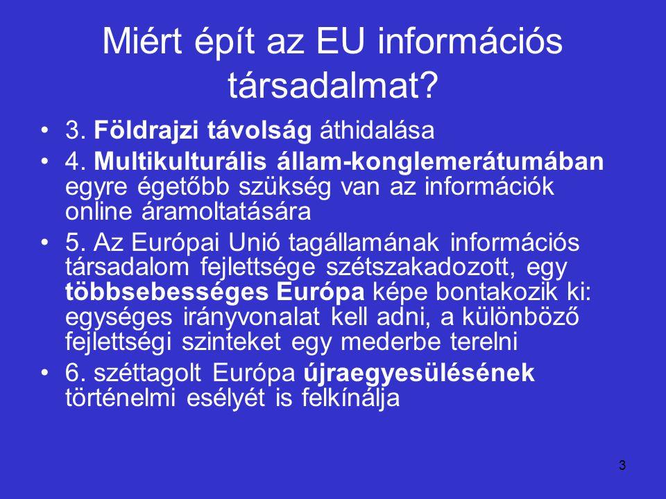3 Miért épít az EU információs társadalmat? 3. Földrajzi távolság áthidalása 4. Multikulturális állam-konglemerátumában egyre égetőbb szükség van az i