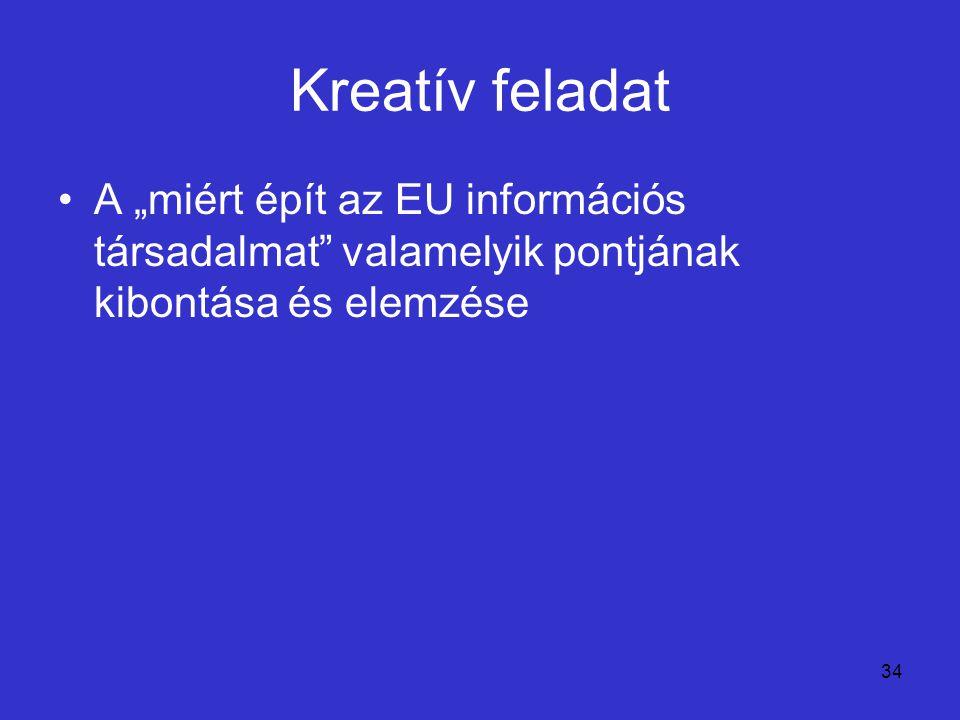 """34 Kreatív feladat A """"miért épít az EU információs társadalmat"""" valamelyik pontjának kibontása és elemzése"""