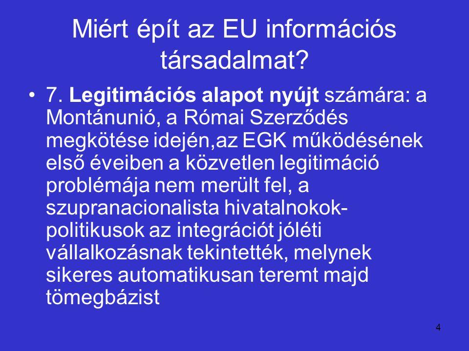 4 Miért épít az EU információs társadalmat? 7. Legitimációs alapot nyújt számára: a Montánunió, a Római Szerződés megkötése idején,az EGK működésének