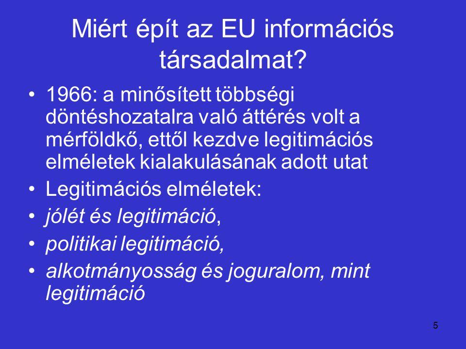 5 Miért épít az EU információs társadalmat? 1966: a minősített többségi döntéshozatalra való áttérés volt a mérföldkő, ettől kezdve legitimációs elmél