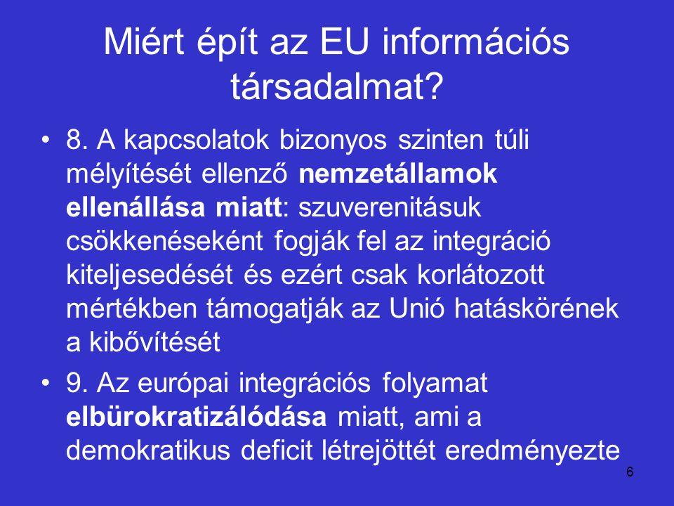 6 Miért épít az EU információs társadalmat? 8. A kapcsolatok bizonyos szinten túli mélyítését ellenző nemzetállamok ellenállása miatt: szuverenitásuk
