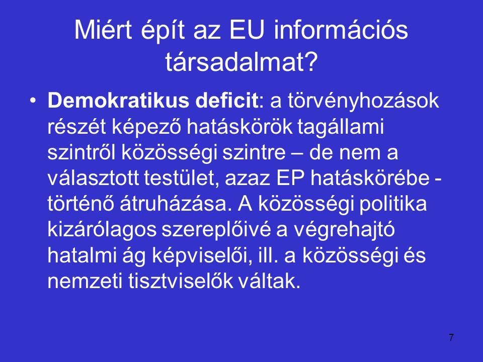 7 Miért épít az EU információs társadalmat? Demokratikus deficit: a törvényhozások részét képező hatáskörök tagállami szintről közösségi szintre – de