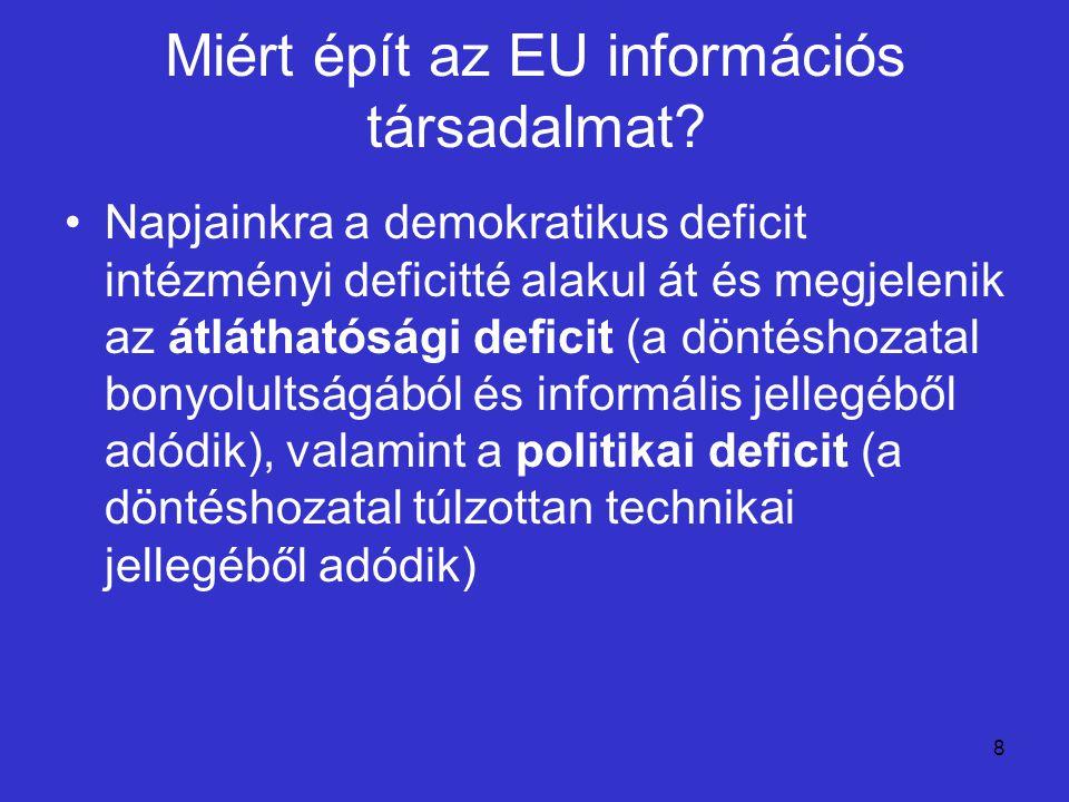 8 Miért épít az EU információs társadalmat? Napjainkra a demokratikus deficit intézményi deficitté alakul át és megjelenik az átláthatósági deficit (a