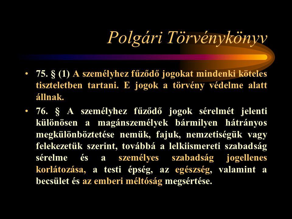 Polgári Törvénykönyv 75. § (1) A személyhez fűződő jogokat mindenki köteles tiszteletben tartani. E jogok a törvény védelme alatt állnak. 76. § A szem
