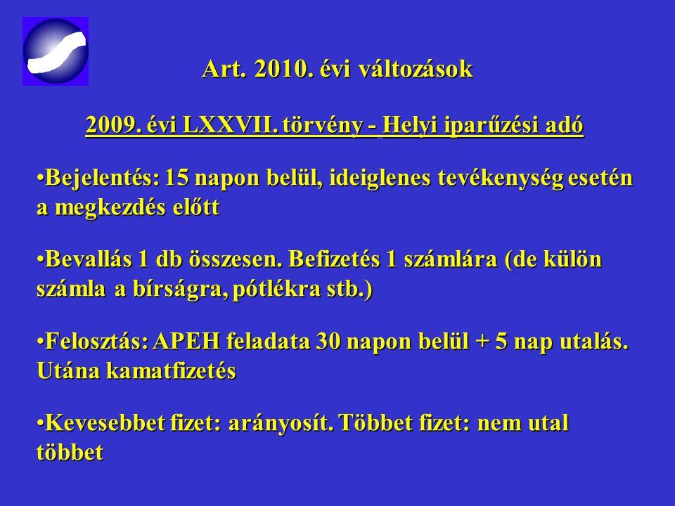 Art. 2010. évi változások Art. 2010. évi változások 2009. évi LXXVII. törvény - Helyi iparűzési adó 2010-es adóévtől2010-es adóévtől 2009. évi bevallá