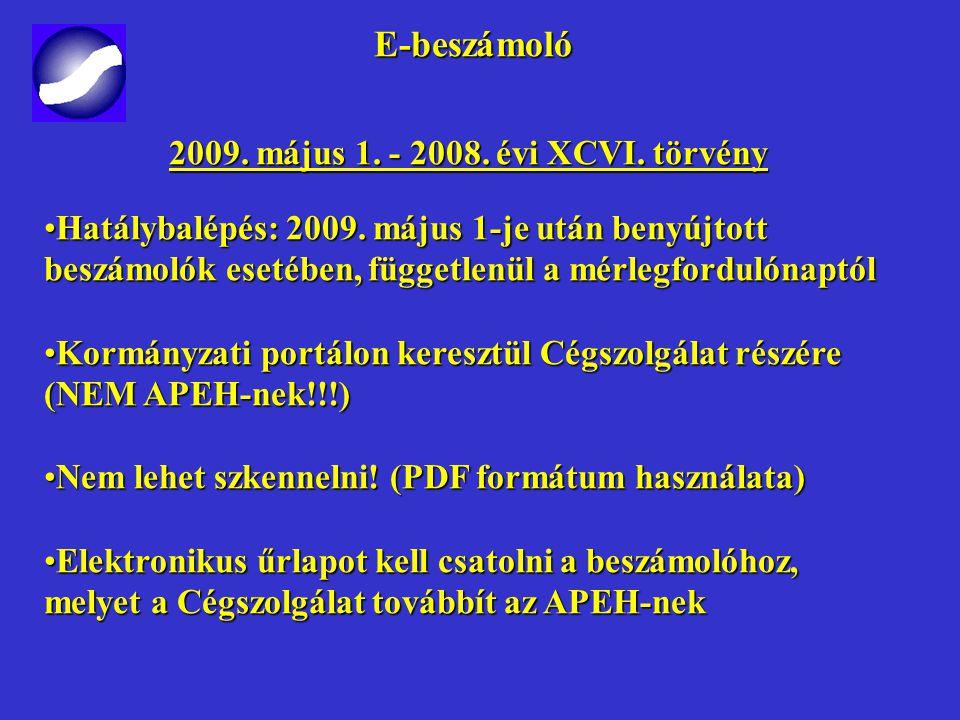 E-beszámoló E-beszámoló 2009.május 1. - 2008. évi XCVI.