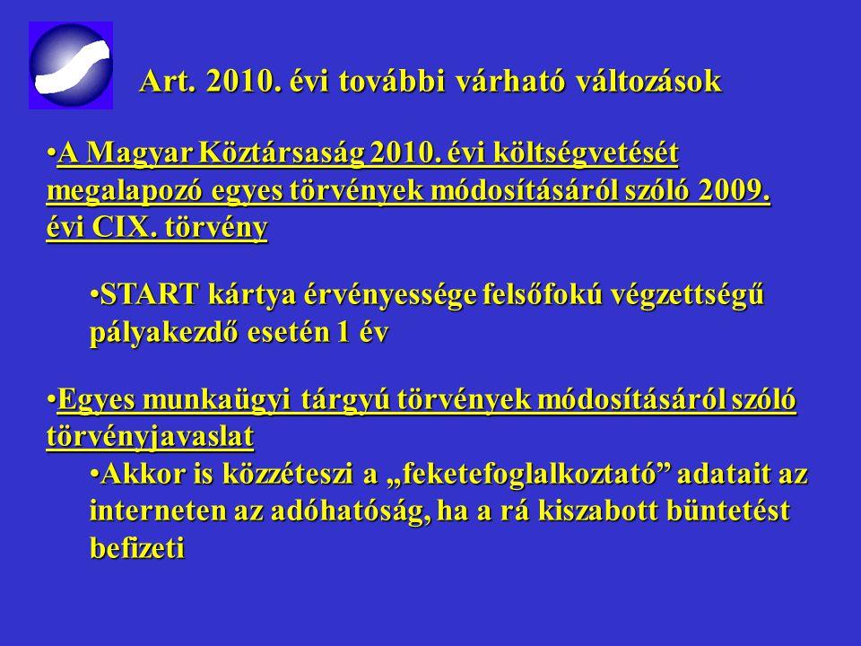 Art. 2010. évi további változások Art. 2010. évi további változások Az egyéni vállalkozóról és az egyéni cégről szóló 2009. évi CXV. törvényAz egyéni