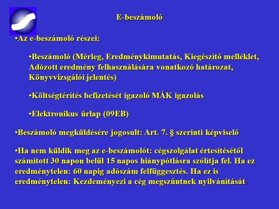 E-beszámoló E-beszámoló 2009. május 1. - 2008. évi XCVI. törvény Hatálybalépés: 2009. május 1-je után benyújtott beszámolók esetében, függetlenül a mé