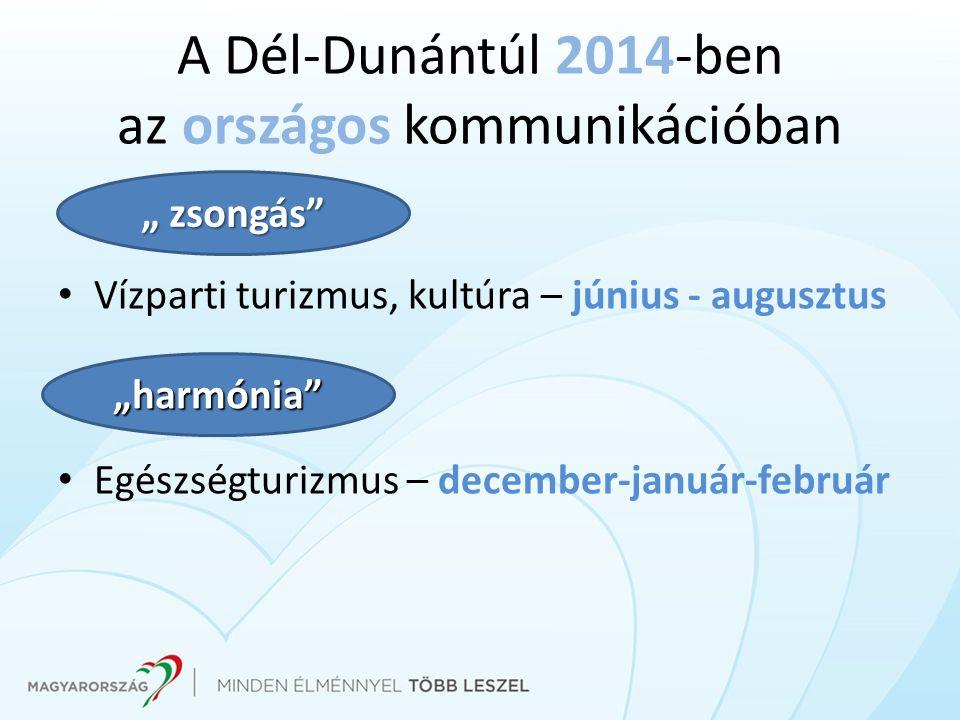 """A Dél-Dunántúl 2014-ben az országos kommunikációban Vízparti turizmus, kultúra – június - augusztus Egészségturizmus – december-január-február """"harmón"""