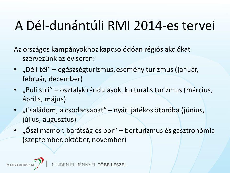 """A Dél-dunántúli RMI 2014-es tervei Az országos kampányokhoz kapcsolódóan régiós akciókat szervezünk az év során: """"Déli tél"""" – egészségturizmus, esemén"""