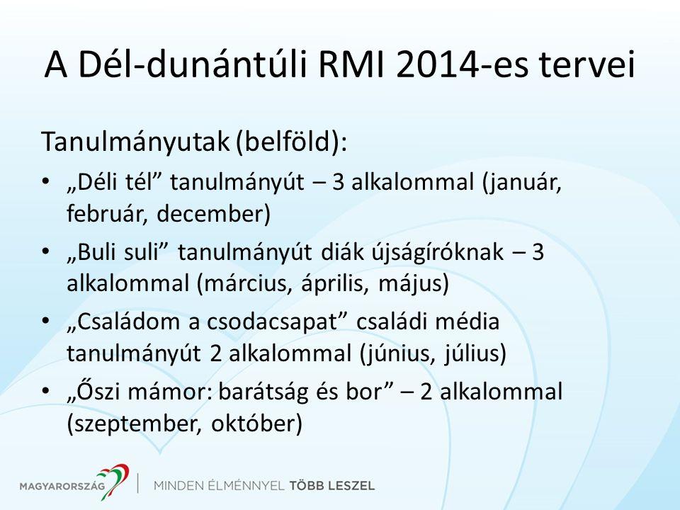 "Tanulmányutak (belföld): ""Déli tél"" tanulmányút – 3 alkalommal (január, február, december) ""Buli suli"" tanulmányút diák újságíróknak – 3 alkalommal (m"