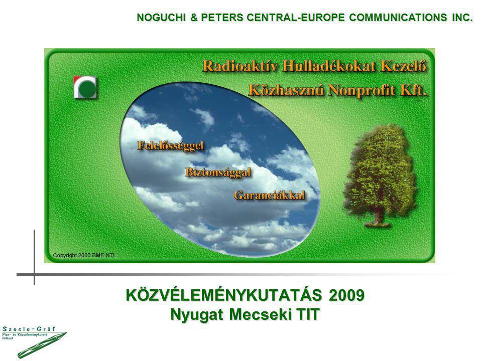 KÖZVÉLEMÉNYKUTATÁS 2009 Nyugat Mecseki TIT NOGUCHI & PETERS CENTRAL-EUROPE COMMUNICATIONS INC.