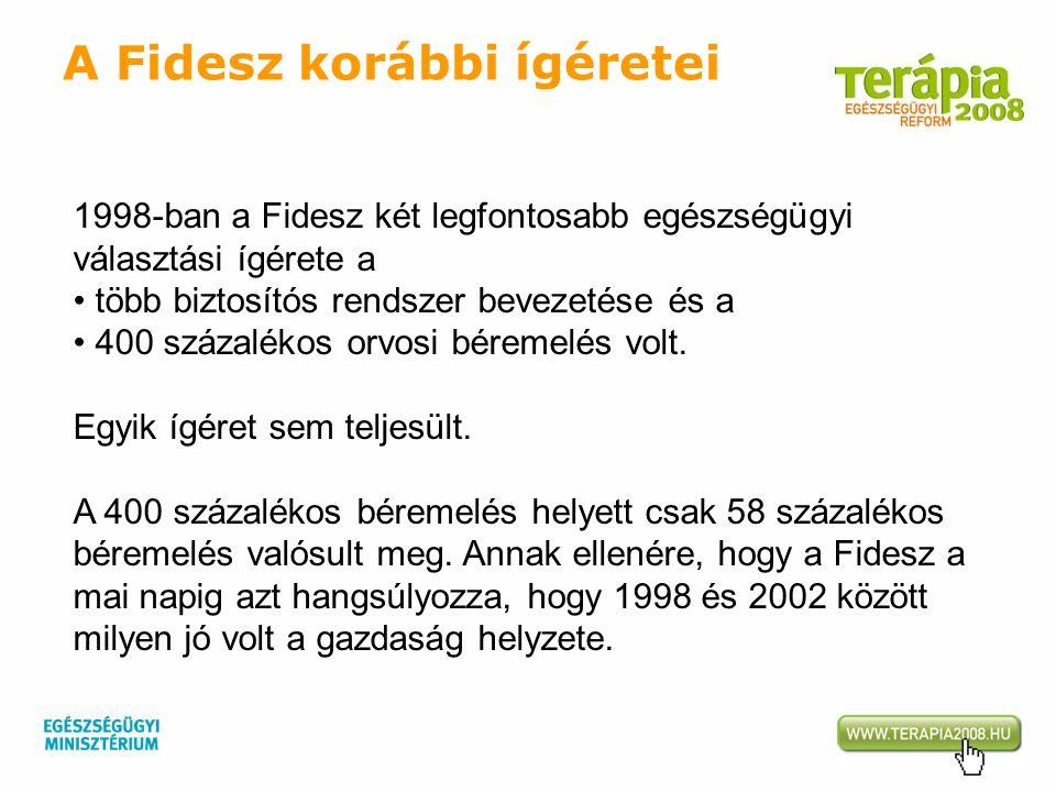 1998-ban a Fidesz két legfontosabb egészségügyi választási ígérete a több biztosítós rendszer bevezetése és a 400 százalékos orvosi béremelés volt. Eg