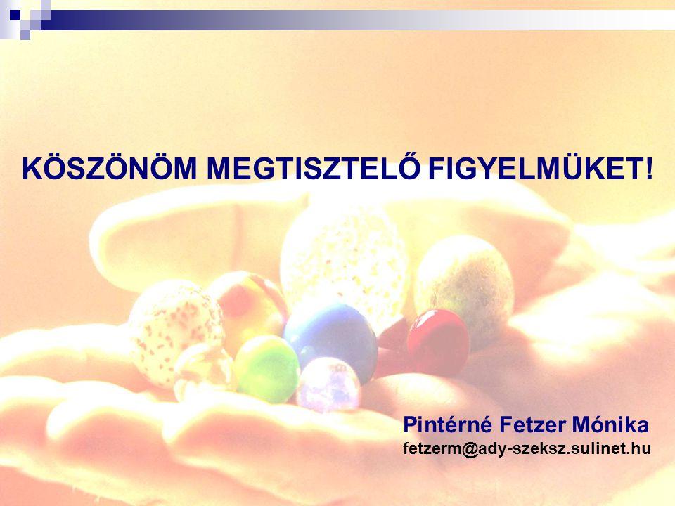 KÖSZÖNÖM MEGTISZTELŐ FIGYELMÜKET! Pintérné Fetzer Mónika fetzerm@ady-szeksz.sulinet.hu