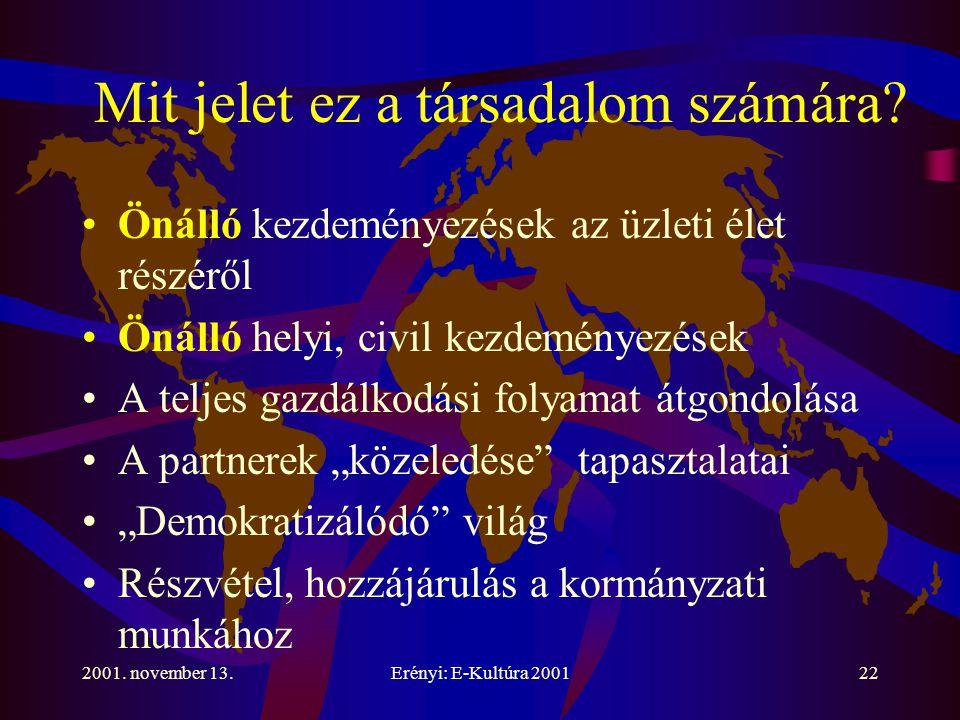 2001. november 13.Erényi: E-Kultúra 200122 Mit jelet ez a társadalom számára.