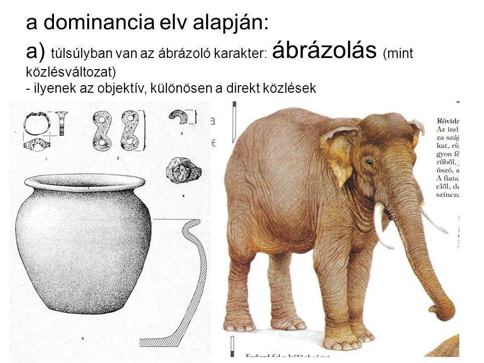 a dominancia elv alapján: a) túlsúlyban van az ábrázoló karakter: ábrázolás (mint közlésváltozat) - ilyenek az objektív, különösen a direkt közlések b