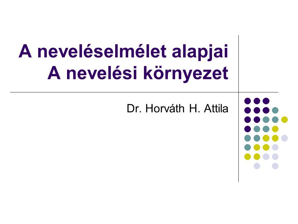 A neveléselmélet alapjai A nevelési környezet Dr. Horváth H. Attila