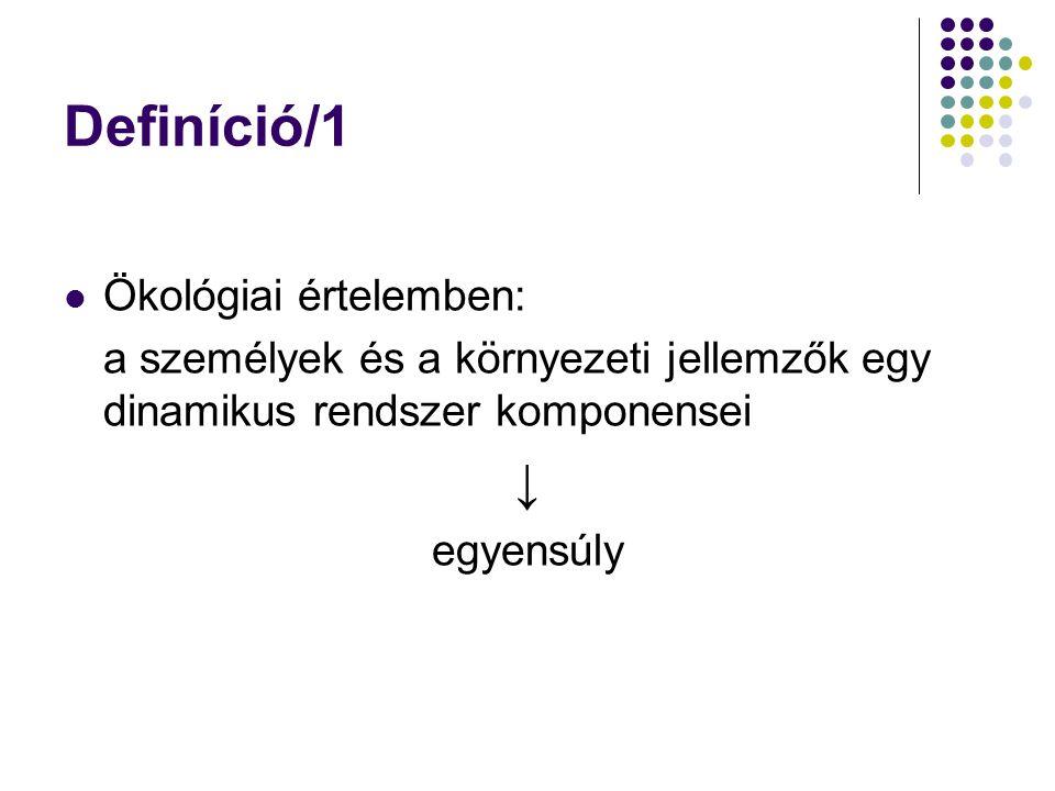 Definíció/1 Ökológiai értelemben: a személyek és a környezeti jellemzők egy dinamikus rendszer komponensei ↓ egyensúly