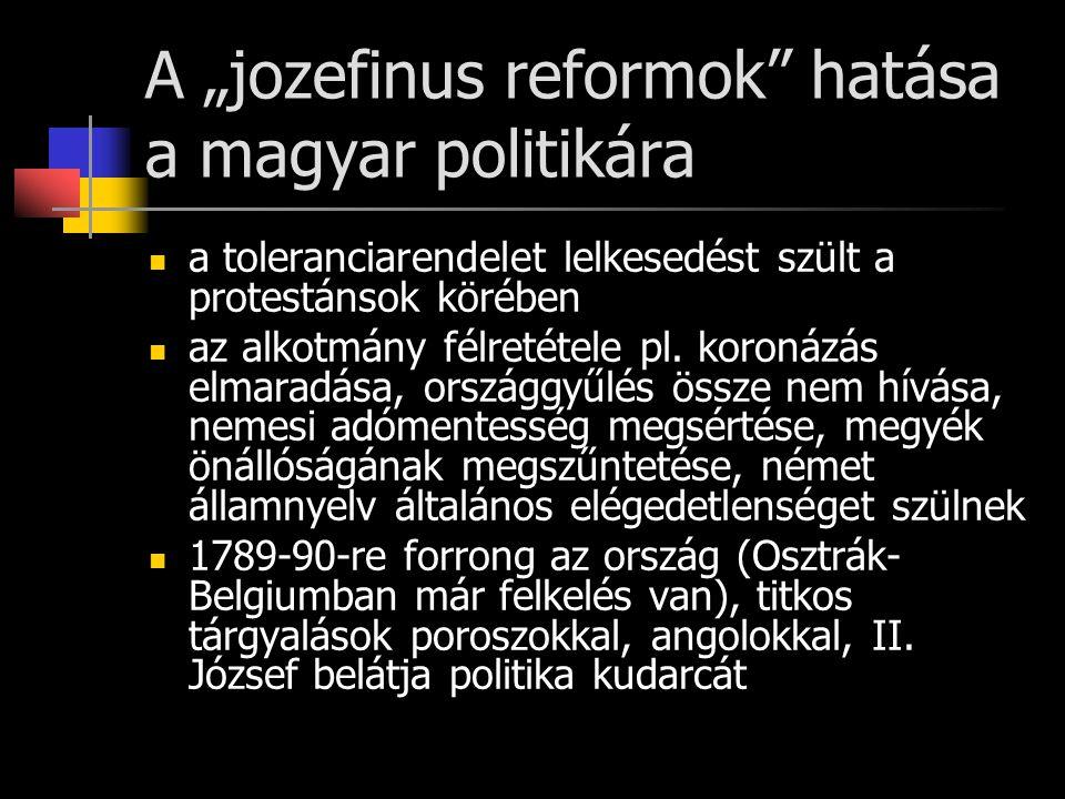 """A """"jozefinus reformok"""" hatása a magyar politikára a toleranciarendelet lelkesedést szült a protestánsok körében az alkotmány félretétele pl. koronázás"""