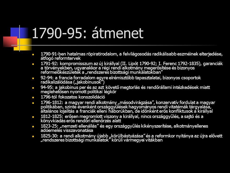 1790-95: átmenet 1790-91-ben hatalmas röpiratirodalom, a felvilágosodás radikálisabb eszméinek elterjedése, átfogó reformtervek 1791-92: kompromisszum