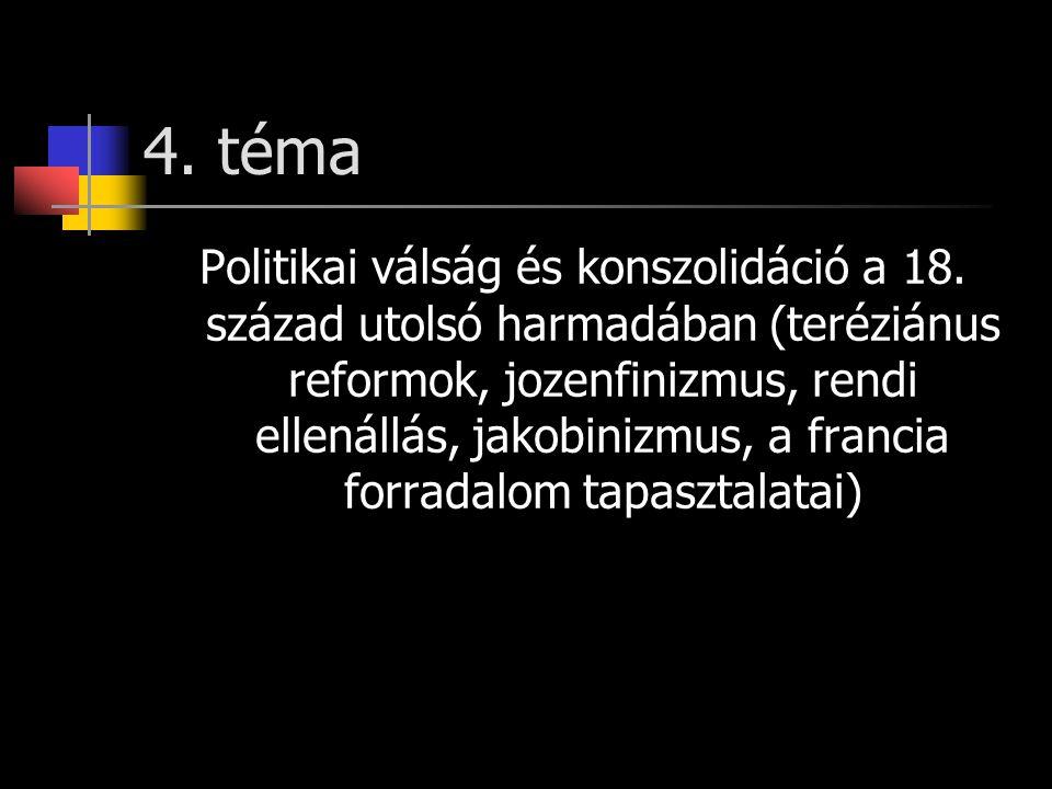 4. téma Politikai válság és konszolidáció a 18. század utolsó harmadában (teréziánus reformok, jozenfinizmus, rendi ellenállás, jakobinizmus, a franci
