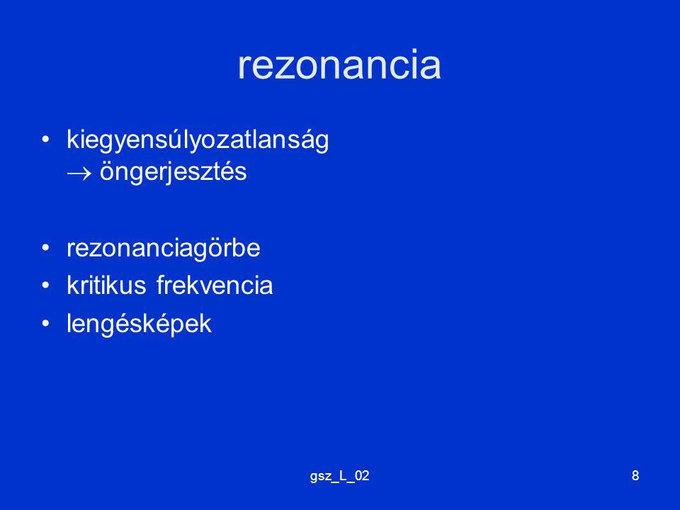 gsz_L_028 rezonancia kiegyensúlyozatlanság  öngerjesztés rezonanciagörbe kritikus frekvencia lengésképek