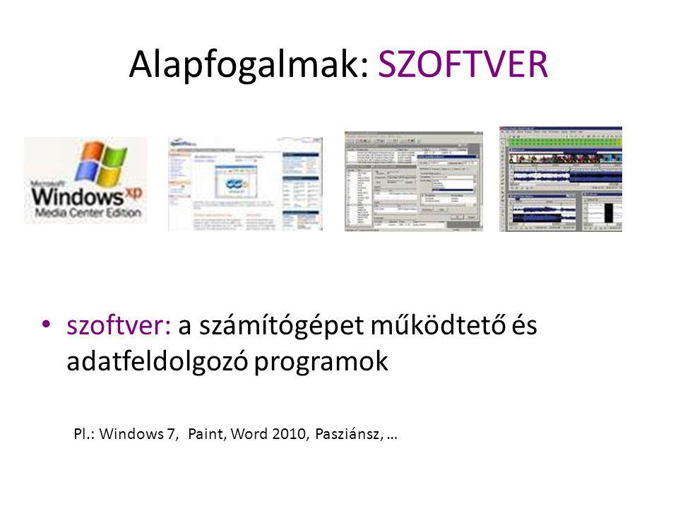 Alapfogalmak: SZOFTVER szoftver: a számítógépet működtető és adatfeldolgozó programok Pl.: Windows 7, Paint, Word 2010, Pasziánsz, …