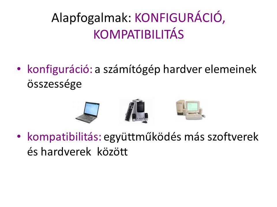Alapfogalmak: KONFIGURÁCIÓ, KOMPATIBILITÁS konfiguráció: a számítógép hardver elemeinek összessége kompatibilitás: együttműködés más szoftverek és har
