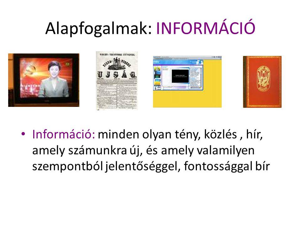 Alapfogalmak: INFORMÁCIÓ Információ: minden olyan tény, közlés, hír, amely számunkra új, és amely valamilyen szempontból jelentőséggel, fontossággal b