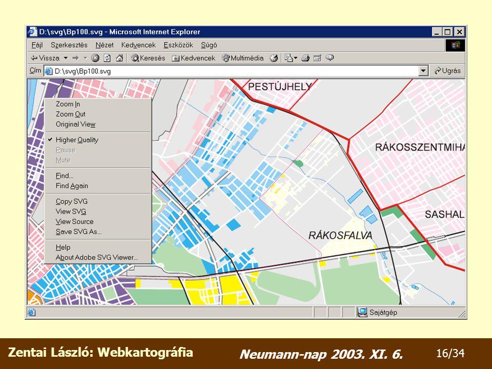 Zentai László: Webkartográfia 16/34 Neumann-nap 2003. XI. 6.